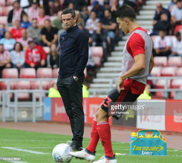 Sunderland manager Jack Ross during the Sky Bet League One match between Sunderland and Scunthorpe United at Stadium of Light on August 19 2018 in...