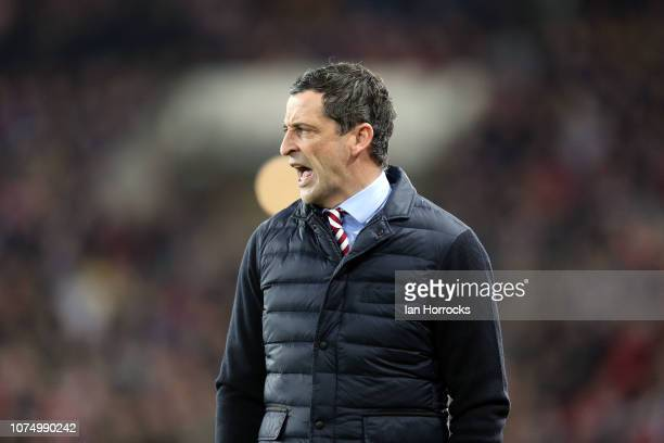 Sunderland manager Jack Ross during the Sky Bet League One match between Sunderland and Bradford City at Stadium of Light on December 26 2018 in...