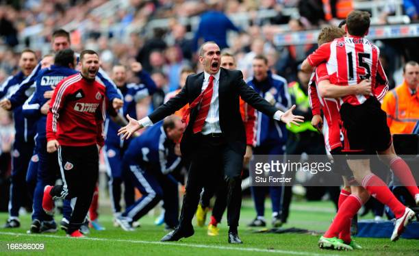 Sunderland manager Paolo Di Canio celebrates with the team after the third Sunderland goal during the Barclays Premier League match between Newcastle...