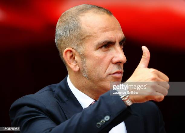 Sunderland manager Paolo Di Canio gives the thumbs up during the Barclays Premier League match between Sunderland and Arsenal at the Stadium of Light...