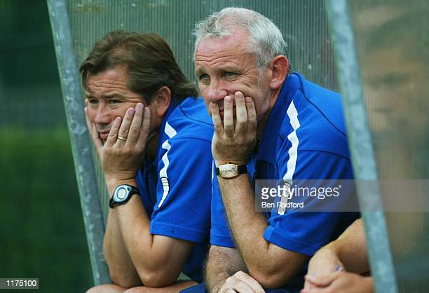 Sunderland manager Peter Reid with assistant manager Adrian Heath during the preseason friendly between Amiens and Sunderland at the Stade de la...