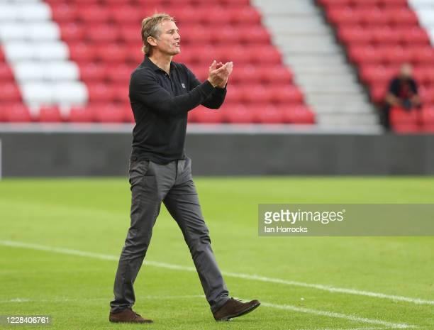 Sunderland manager Phil Parkinson during the EFL Trophy match between Sunderland and Aston Villa U21 at Stadium of Light on September 8, 2020 in...