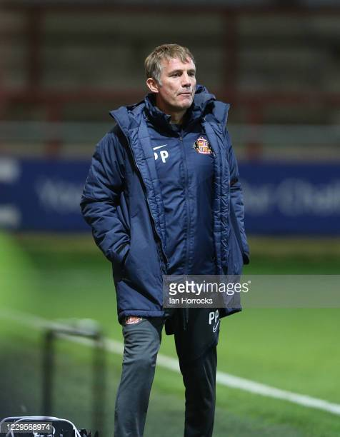 Sunderland manager Phil Parkinson during the EFL Trophy match between Fleetwood Town and Sunderland at Highbury Stadium on November 10, 2020 in...