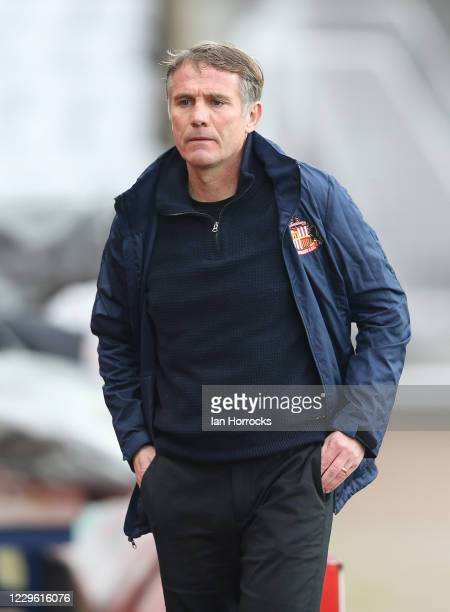 Sunderland manager Phil Parkinson during the Sky Bet League One match between Sunderland and Milton Keynes Dons at Stadium of Light on November 14,...
