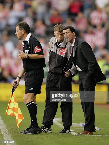Sunderland manager Roy Keane speaks with the line assistant during the CocaCola Championship match between Derby County and Sunderland at Pride Park...