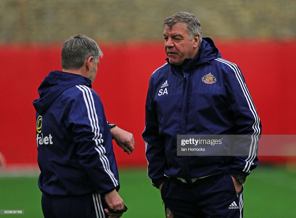 Sunderland manager Sam Allardyce (R) chats with assistant Paul Bracewell during a Sunderland AFC training session at the Academy of Light on January 07, 2016 in Sunderland, England.