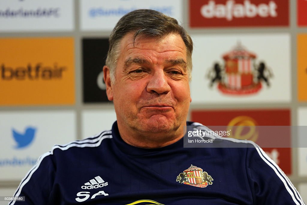 Sunderland manager Sam Allardyce conducts a press conference after a Sunderland AFC training session at the Academy of Light on January 07, 2016 in Sunderland, England.