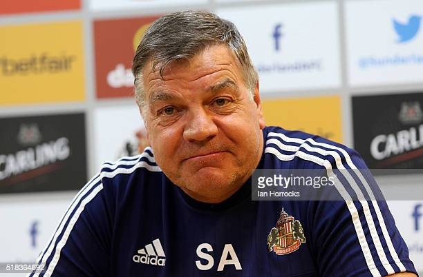 Sunderland manager Sam Allardyce conducts his weekly press conference at the Academy of Light on March 31 2016 in Sunderland England