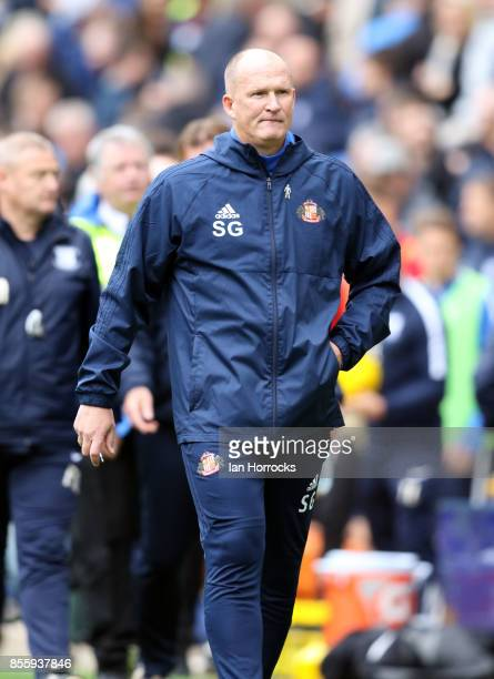 Sunderland manager Simon Grayson during the Sky Bet Championship match between Preston North End and Sunderland at Deepdale on September 30 2017 in...