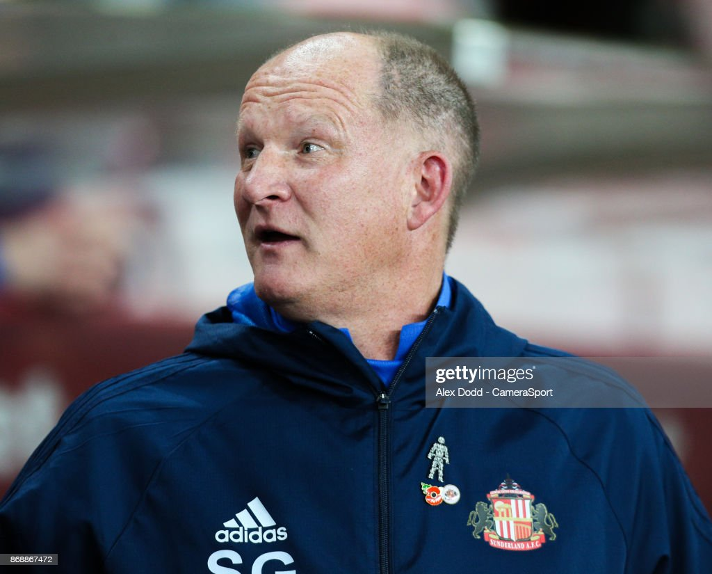 Sunderland manager Simon Grayson during the Sky Bet Championship match between Sunderland and Bolton Wanderers at Stadium of Light on October 31, 2017 in Sunderland, England.