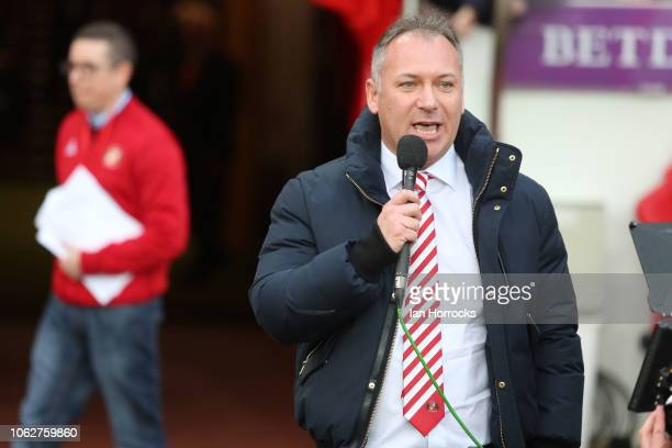 Sunderland owner Stewart Donald talks to the fans during the Sky Bet League One match between Sunderland and Wycombe Wanderers at Stadium of Light on...