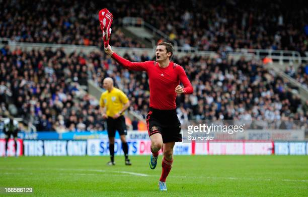 Sunderland player Adam Johnson celebrates after scoring the second goal during the Barclays Premier League match between Newcastle United and...