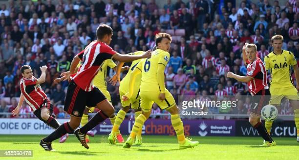Sunderland player Adam Johnson fires in the first Sunderland goal during the Barclays Premier League match between Sunderland and Tottenham Hotspur...