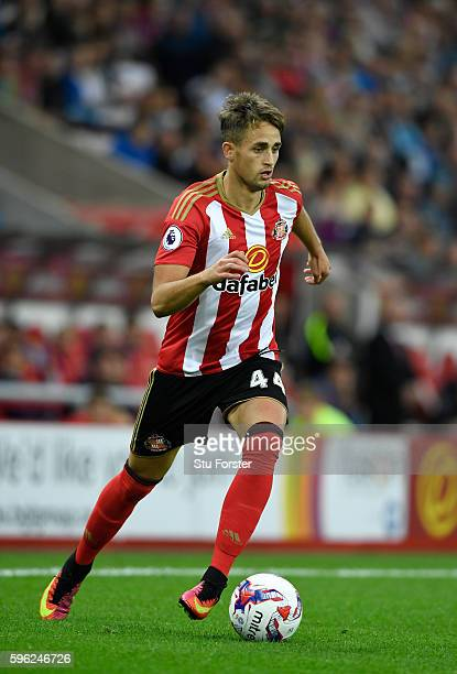 Sunderland player Adnan Januzaj in action during the EFL Cup Round Two match between Sunderland and Shrewsbury Town at Stadium of Light on August 24...