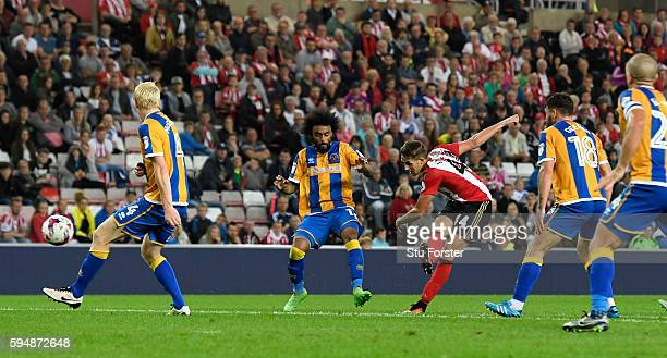 Sunderland player Adnan Januzaj scores the winning goal during the EFL Cup Round Two match between Sunderland and Shrewsbury Town at Stadium of Light...