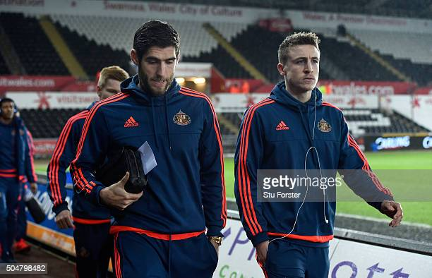 Sunderland player and former Swansea striker Danny Graham and team mates arrive at the stadium before the Barclays Premier League match between...