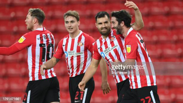 Sunderland player Bailey Wright celebrates the first Sunderland goal with Will Grigg during the Sky Bet League One match between Sunderland and AFC...