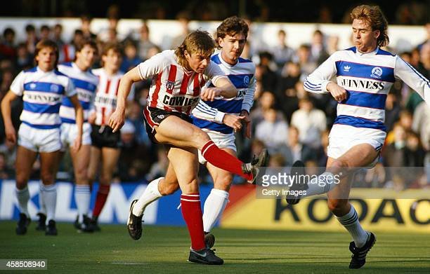 Sunderland player Barry Venison gets in a shot during a Canon League Division One match between Queens Park Rangers and Sunderland at Loftus Road on...