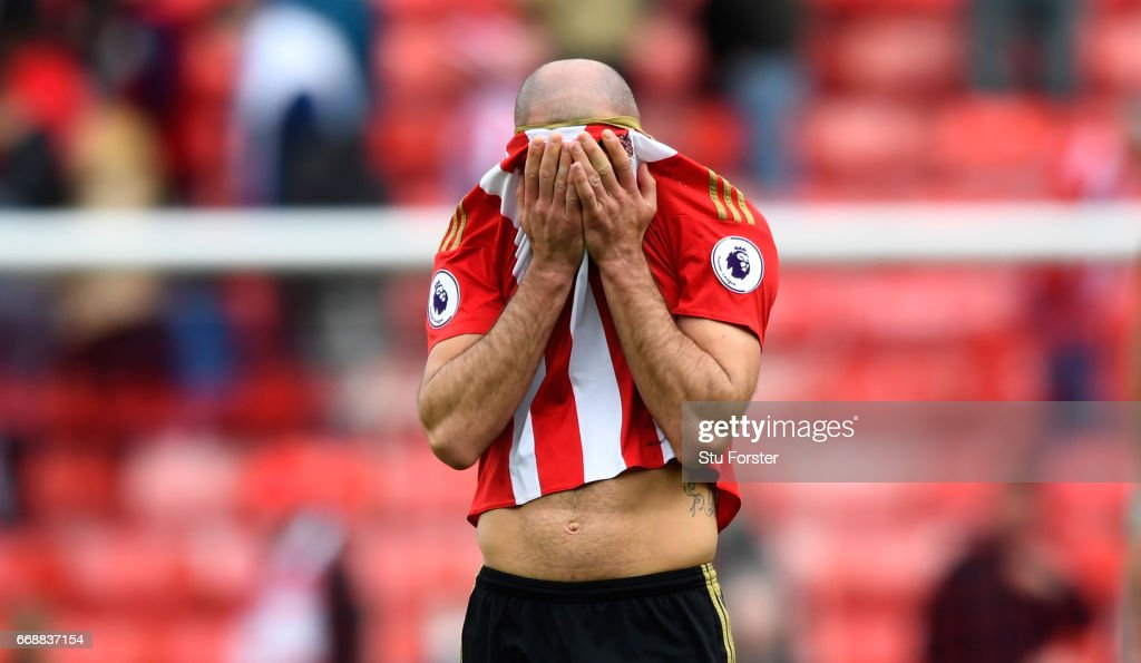 Sunderland player Darron Gibson reacts after the Premier League match between Sunderland and West Ham United at Stadium of Light on April 15, 2017 in Sunderland, England.