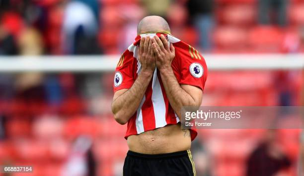 Sunderland player Darron Gibson reacts after the Premier League match between Sunderland and West Ham United at Stadium of Light on April 15 2017 in...