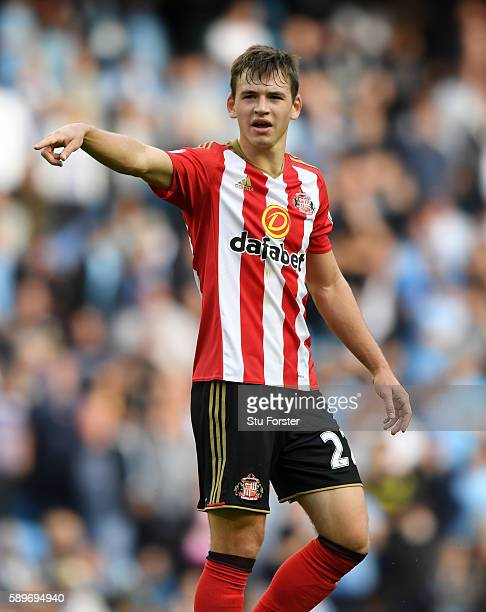 Sunderland player Donald Love reacts during the Premier League match between Manchester City and Sunderland at Etihad Stadium on August 13 2016 in...