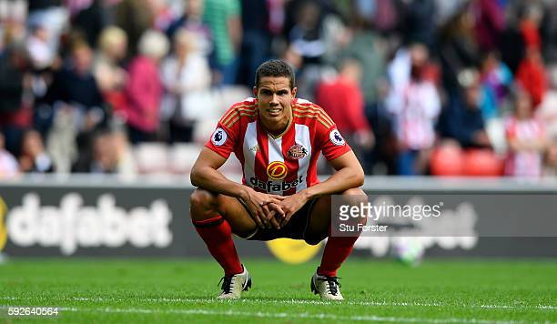 Sunderland player Jack Rodwell reacts after the Premier League match between Sunderland and Middlesbrough at Stadium of Light on August 21, 2016 in...