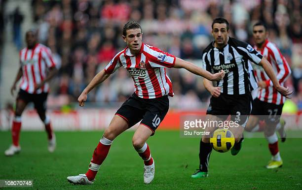 Sunderland player Jordan Henderson in action during the Barclays Premier League match between Sunderland and Newcastle United at Stadium of Light on...