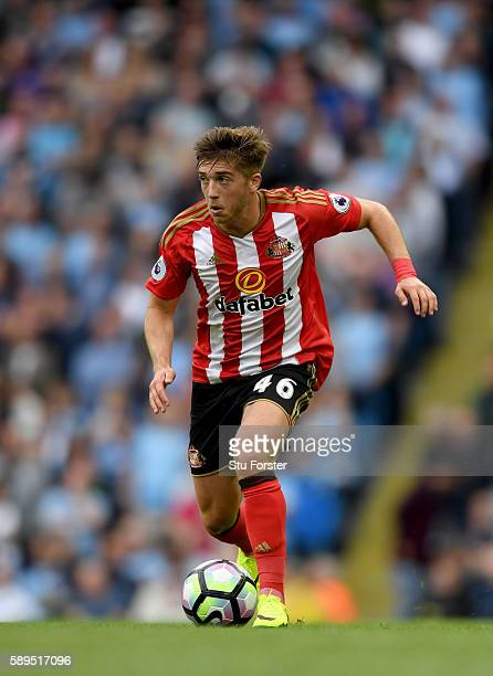 Sunderland player Lynden Gooch in action during the Premier League match between Manchester City and Sunderland at Etihad Stadium on August 13, 2016...