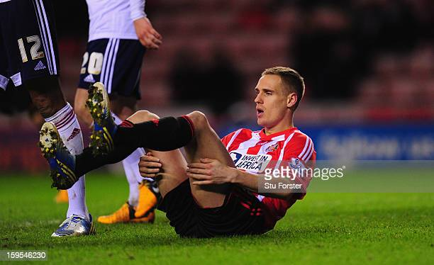 Sunderland player Matthew Kilgallon looks on dejectedly after a miss during the FA Cup Third Round Replay between Sunderland and Bolton Wanderers at...