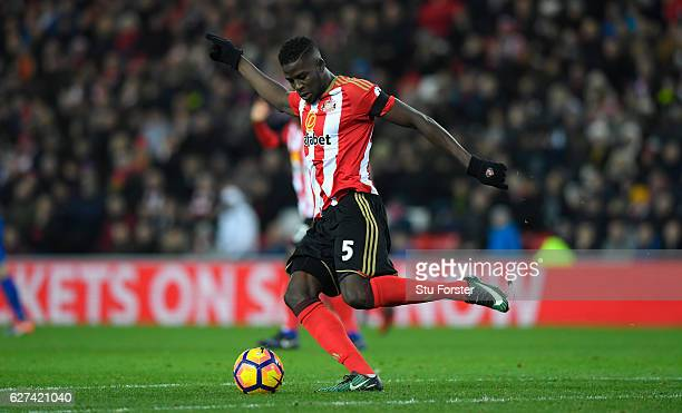 Sunderland player Papy Djilobodji in action during the Premier League match between Sunderland and Leicester City at Stadium of Light on December 3...