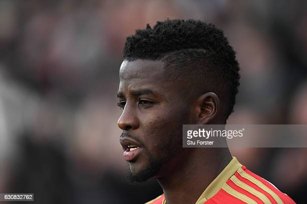 Sunderland player Papy Djilobodji looks on during the Premier League match between Sunderland and Liverpool at Stadium of Light on January 2 2017 in...