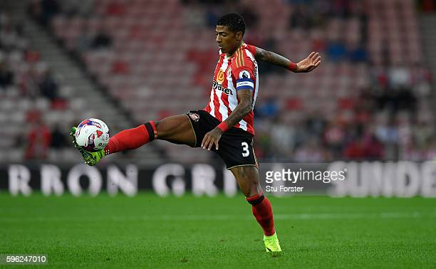 Sunderland player Patrick van Aanholt in action during the EFL Cup Round Two match between Sunderland and Shrewsbury Town at Stadium of Light on...