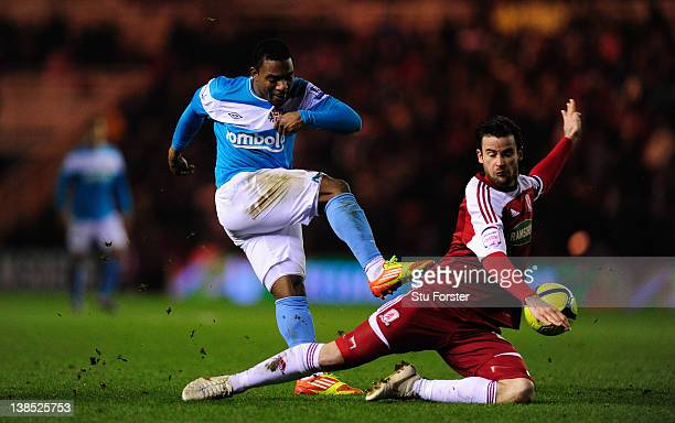 Sunderland player Stephane Sessegnon has his shot blocked by Matthew Bates during the FA Cup Fourth Round Replay between Middlesbrough and Sunderland...