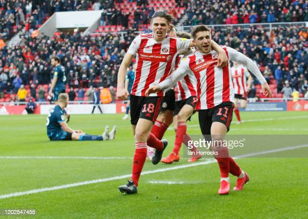 Sunderland players celebrate after Lynden Gooch scores the first goal during the Sky Bet League One match between Sunderland and Bristol Rovers at...
