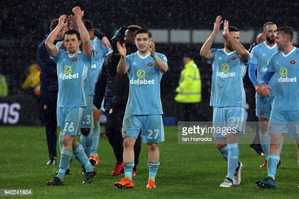 Sunderland players celebrate on the final whistle during the Sky Bet Championship match between Derby County and Sunderland at iPro Stadium on March...