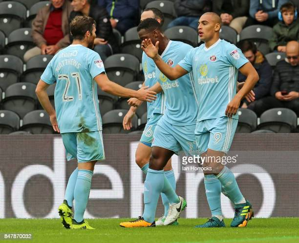 Sunderland players celebrate the opening goal scored by James Vaughn during the Sky Bet Championship match between Hull City and Sunderland at KCOM...