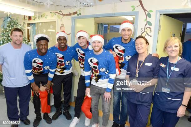 Sunderland players Josh Maja Joel Asoro Ethan Robson Jonny Williams and Brendan Galloway meet staff during a Christmas visit to Sunderland Royal...