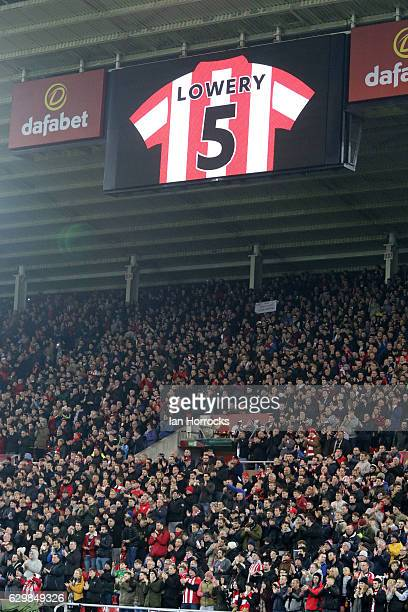 Sunderland score boards display the shirt of Bradley Lowery during the Premier League match between Sunderland and Chelsea at Stadium of Light on...