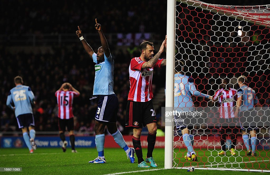 Sunderland striker Steven Fletcher (r) reacts after another Sunderland miss during the Capital One Cup Fourth Round match between Sunderland and Middlesbrough at Stadium of Light on October 30, 2012 in Sunderland, England.