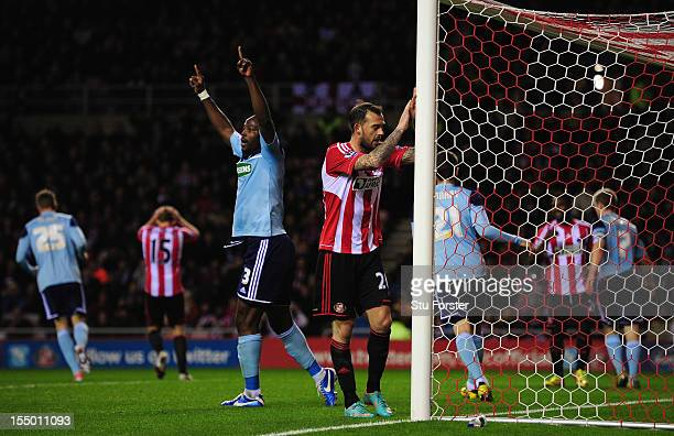 Sunderland striker Steven Fletcher reacts after another Sunderland miss during the Capital One Cup Fourth Round match between Sunderland and...