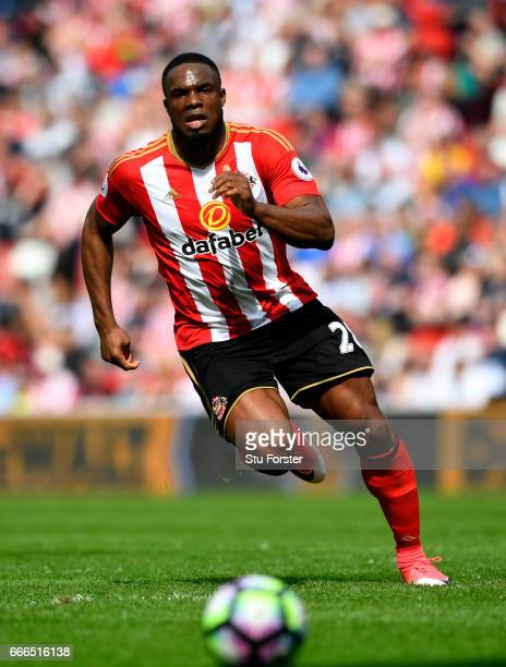 Sunderland striker Victor Anichebe in action during the Premier League match between Sunderland and Manchester United at Stadium of Light on April 9...