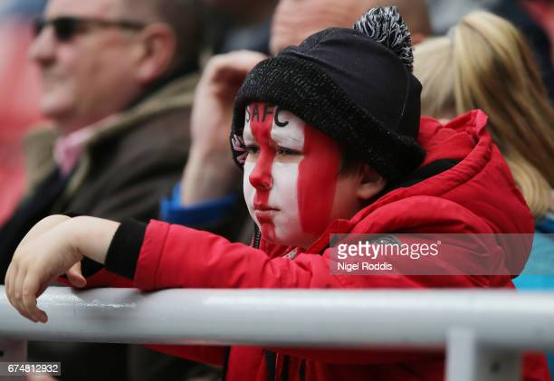 Sunderland supporter looks dejected during the Premier League match between Sunderland and AFC Bournemouth at the Stadium of Light on April 29 2017...