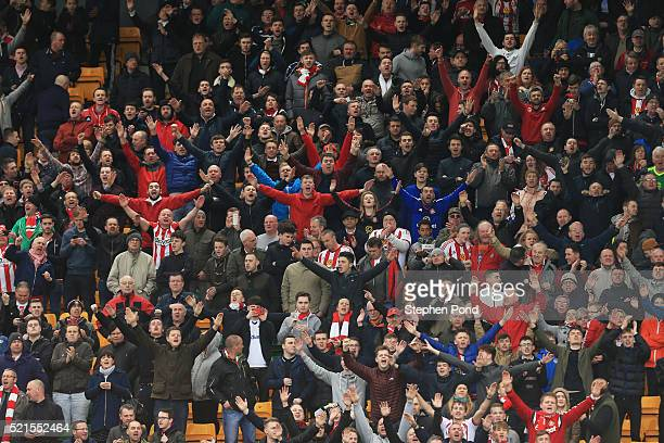 Sunderland supporters in voice during the Barclays Premier League match between Norwich City and Sunderland at Carrow Road on April 16 2016 in...