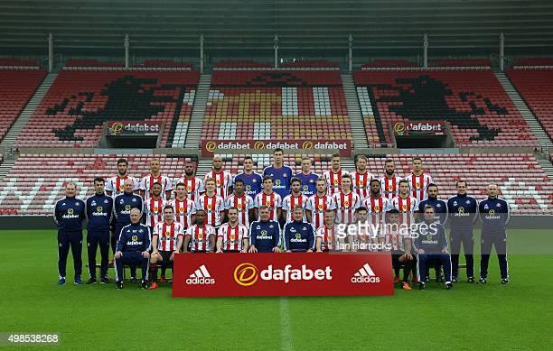Sunderland Team photo shoot Left to right Danny Graham Wes Brown Yann M'Vila Younes Kaboul Vito Mannone Costel Pantilimon Jordan Pickford Sebastian...