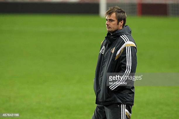 Sunderland U21 coach Robbie Stockdale during the Barclays U21 League match between Sunderland AFC and Leicester City FC at The Stadium of Light on...