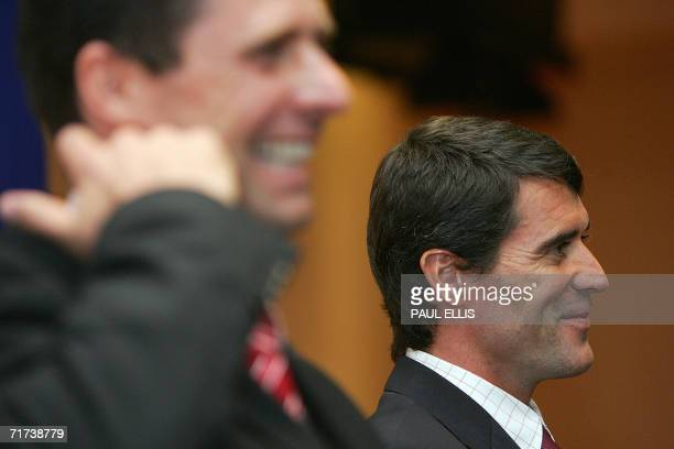 Sunderland, UNITED KINGDOM: New Sunderland soccer manager Roy Keane addresses a press conference with Club Chairman Niall Quinn at the Stadium of...