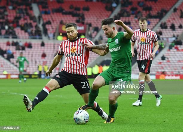 Sunderland's Adam Matthews tackles Preston's Sean Maguire during the Sky Bet Championship match between Sunderland and Preston North End at Stadium...