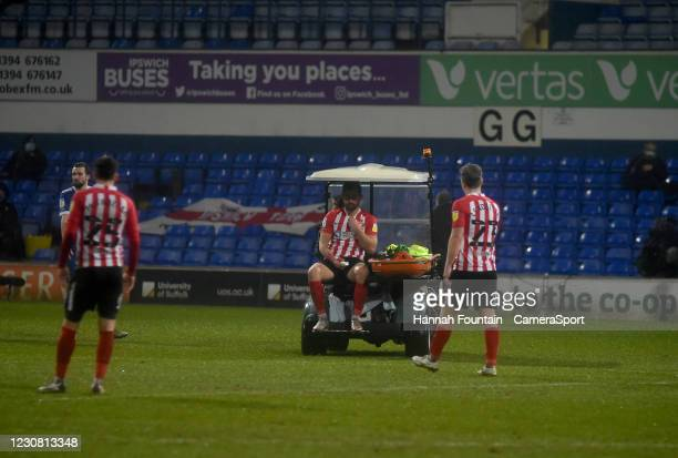 Sunderland's Bailey Wright taken off injured during the Sky Bet League One match between Ipswich Town and Sunderland at Portman Road on January 26,...