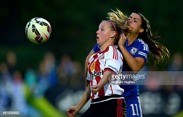 Sunderland's Beth Mead is challenged by Chelsea's Claire Rafferty during the FA WSL match between Chelsea Ladies FC and Sunderland AFC Ladies on...