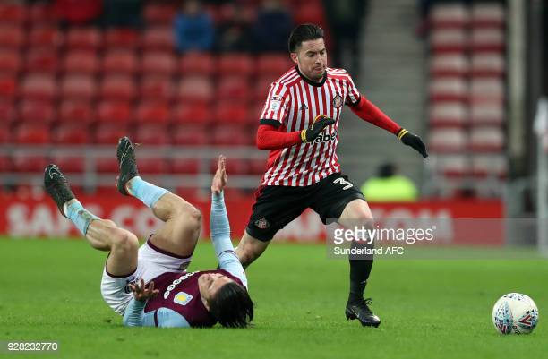 Sunderland's Bryan Oviedo right battles for the ball with Aston Villa's Jack Grealish left during the Sky Bet Championship match between Sunderland...